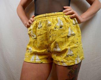 Vintage 1950s McGregor Yellow Sailboat Men's Swim Trunks Shorts - XS