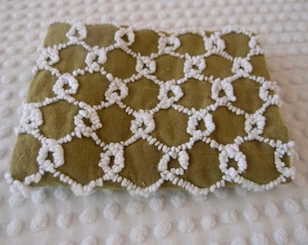 "Vintage Chenille bedspread fabric piece - Bates olive green ""chickenwire"" - 18"" x 24"" - 400-150"