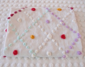 "Vintage Chenille Fabric - white handmade chenille pastel popcorn - 18"" x 24"" - 400-160"