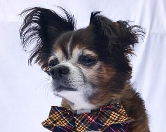Pet Dog Bow tie plaid double diamond Tip