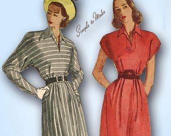 1940s Vintage Simplicity Sewing Pattern 1936 Uncut Dress Batwing Sleeves Sz 30B