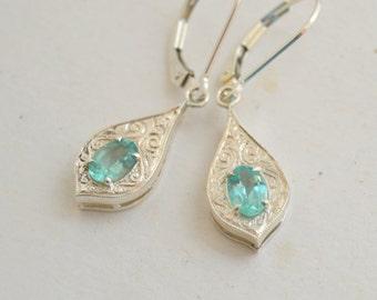 Blue dangly earrings, silver engraved earrings, apatite dangly earrings, apatite earrings, blue gemstone earrings, gifts for moms