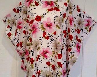 Poppy Floral Tunic, Kaftan, Beach Cover, Plus Size Kaftan, Kaftan Top, Boho Kaftan, Silk Kaftan, fits PLUS sizes