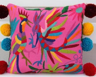 PINK Folk Art Pillow Sham with Pom Poms-Otomi Embroidery Ready to ship.
