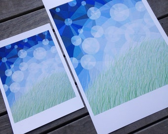 LARGE I'll Meet you There art print, geometric art, sunlight particles, sky sparkles, grassy field