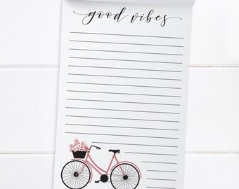 To Do List. Good vibes notepad. Bicycle Notepad. Grocery List. Notepad. Shopping List. Notepad. List Pad. Jotter Notepad.