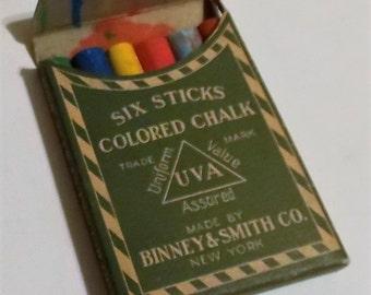Six Sticks Chalk, Antique, Chalk Pastels, In Box, Binney & Smith Co., New York, Collectible, Trade Mark Uniform Value UVA Assured, Colorful