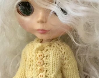 Yellow hand knit blythe doll sweater cardigan