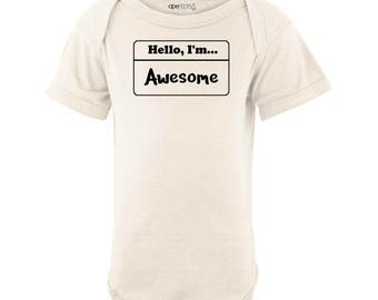 Hello I'm Awesome Going Home Outfit Hospital Nametag Sticker One Piece Arrival Baby Shower Gift100% Cotton Unisex Newborn 6 12 18 Months