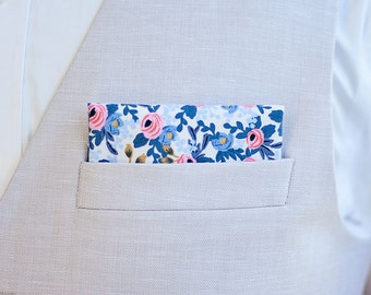 Pocket Square, Pocket Squares, Handkerchief, Mens Pocket Square, Boys Pocket Square, Rifle Paper Co - PRE-ORDER Rosa In Periwinkle