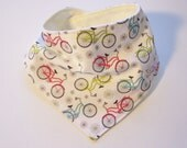 Baby Toddler Drool Bib - Bandana Bib - Baby Shower Gift - Bicycles and Daisies -  Ships Free