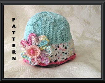 Knitted Hat Patterns Baby Hat Pattern Instant Download BabyHat Pattern Baby Hat with Flower Easter Hat Pattern: FANTASY FLOWER CLOCHE