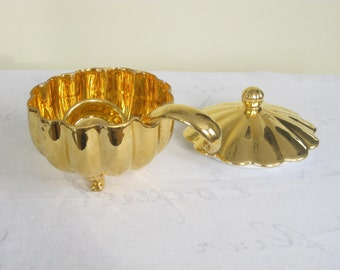Vintage Gold Mayonaise Serving Dish, Small Covered Bowl with Ladle, Golden porcelain condiment dish serveware dinnerware tableware