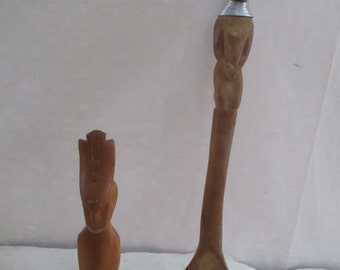 Kenya Carved Spoon and Figurine African 2 items