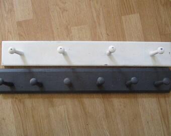 Wood Peg Coat Rack Wall Hook Rack Distressed  White Gray Sold