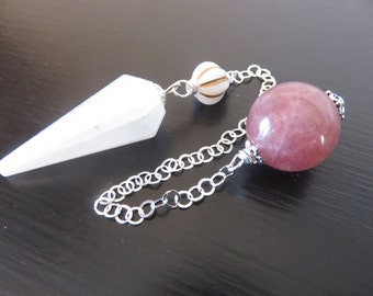 Selenite Pendulum, Vintage Lamp Work Bead ,Sterling chain , Muscovite Bead