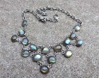 Vintage Labradorite Sterling necklace    Vintage labradorite bib necklace  Sterling bib necklace