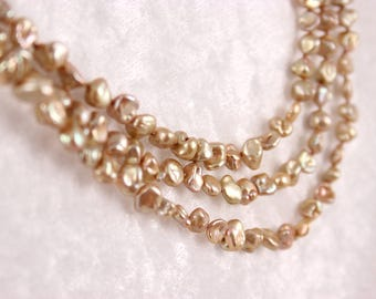 Golden Pearl Necklace, Knotted Silk Cord, Three Strands Freshwater Keishi Pearls- Renee Necklace