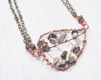 Wire Wrapped Leaf Necklace Leaf Pendant Wire Wrapped Necklace Earthtone Stones Adjustable Chain