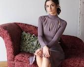 sweater turtleneck dress with keyhole detail - wool blend womens lounge wear lingerie and sleepwear range - MALLARD - made to order