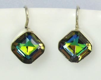 Sterling Silver Green Earrings Iridescent Vintage Glass 1920s Art Deco Style Jewelry 583