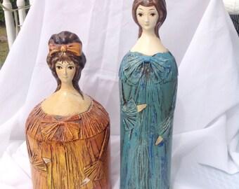 Vintage blue lady hairspray hider holder cover, brown lady toilet paper cover hider.  Vintage vanity hair stylist salon. Bathroom.