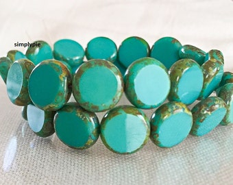 Turquoise Blue Picasso Beads, Table-Cut Coin, Czech Glass Beads, 11mm, 10 Opaque Beads