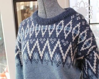 Dale of Norway Pullover Sweater L unisex 44 Blue and White VINTAGE by Plantdreaming