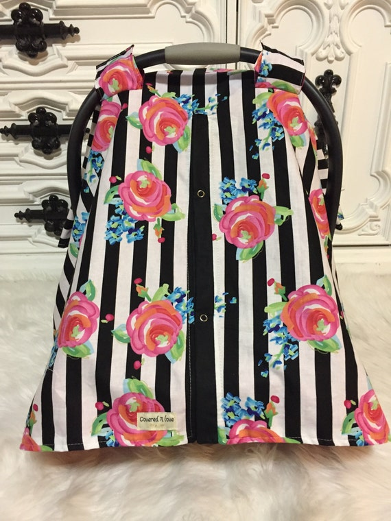 Infant Carseat Canopy Rose water color / car seat cover / nursing cover / carseat canopy / carseat cover