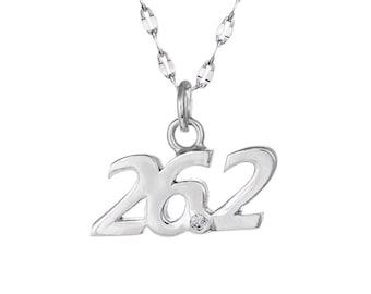 Marathon 26.2 Script Pendant Necklace- Running Necklace