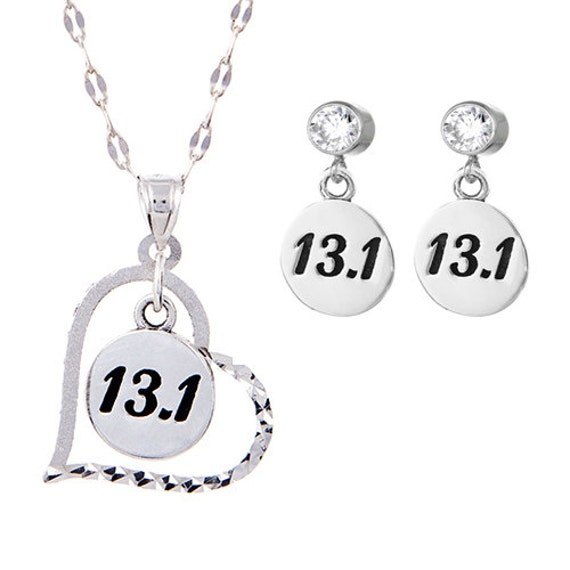 half marathon charm necklace and earring set