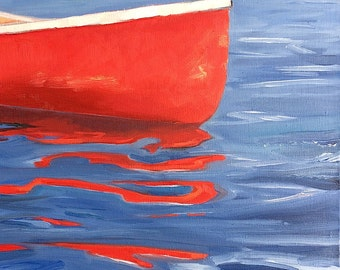 "Calm Reflections. Red Canoe. Original oil painting. Yvonne Wagner. Reflection. Boat. Cottage art. 12 x 16 x 1.75"". Free shipping to USA."