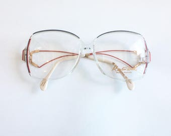 Vintage 1980's Red, Lavender and Clear Martin Wells Australia Plastic Oversized Eyeglasses