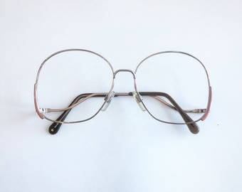 Vintage 1980's Pink and Gunmetal Silver Oversized Round Fantasy Eyeglasses
