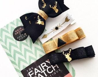Black and gold hair bows, toddler hair bows, hair clips set, kids gift, boho kids, boho hair bows, baby shower gifts, kids hair clips