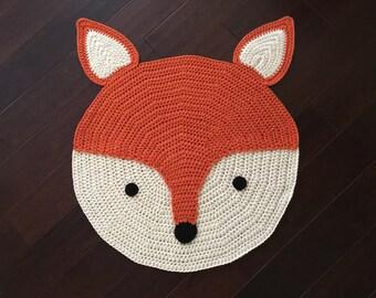 Crochet Fox Rug, hand made rug, Crochet rug, Area rug, children rug, Baby room rug, Fox rug