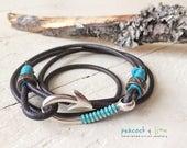 men's/boy youth fish hook clasp bracelet //rugged leather strap wrap bracelet// hook, line and sinker // handmade mens surf jewelry//anklet