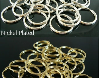 24mm nickel plated OR gold plated split ring/ key ring/ key chain rings, 75 pcs. Great for key rings, charms, jewelry, stitch markers