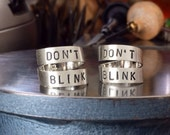 solid sterling silver don't blink ring. silver Dr. Who ring. Doctor Who ring. Whovian jewelry Weeping Angels episode. Wrap-around band ring