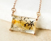 Gold Dendritic Quartz Necklace - Rectangular Dendritic Horizontal Necklace - Connector Necklace