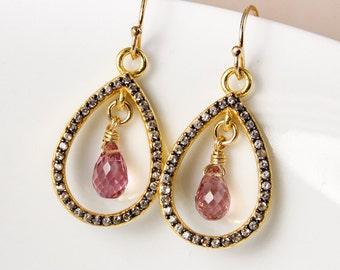 Gold Pave White Topaz & Pink Tourmaline Teardrop Earrings, October Tourmaline, Black Rhodium Plated