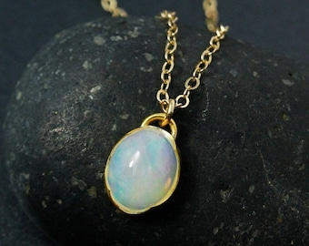 CHRISTMAS SALE Oval Australian Opal Necklace, Milky Opal Necklace, Choose Your Setting