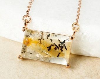 Gold Dendritic Quartz Necklace - Rectangular Dendritic Horizontal Necklace - Connector Necklace