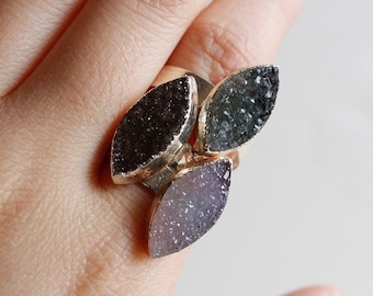 50 OFF SALE Small Druzy Leaf Rings - Marquise Shape Stone - Adjustable Druzy Rings, Gifts Under 30