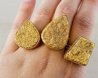 50 OFF SALE Gold Druzy Ring – Select Your Shape