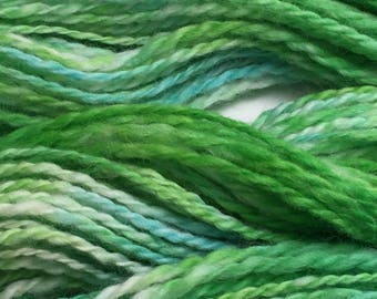 """Hand-Spun 100% Wool Yarn """"Sea Green"""" Hand-Washed, Carded, Spun and Painted, 2 ply, Knit, Crochet, Weave, Aran & Worsted 140 yds"""