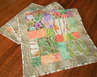 Table Runner Quilted with Beautiful Succulent Flowers, Floral Quilted Table Runner, Purple Teal Green, Dining Table Decor, Bedroom Decor