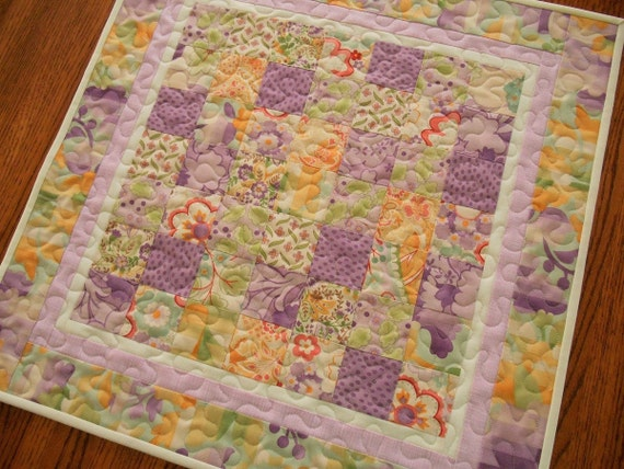 Quilted Square Table Topper in Lavender Green and Yellow, Quilted Table Mat, Moda's Mimi Collection, Pastel Floral Table Topper