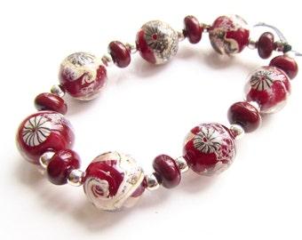Organic Lampwork Beads,  Lampwork Beads, Lampwork Bead Set, Red Beads, UK, SRA, FHFteam