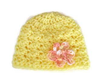 Newborn Baby Hat, Crocheted Hat with Flower, Photo Prop, Shell Stitch Baby Hat,Hospital Hat, Baby Shower Gift, Yellow and Peach, Embellished